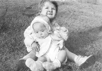 Mom and brother bw pic