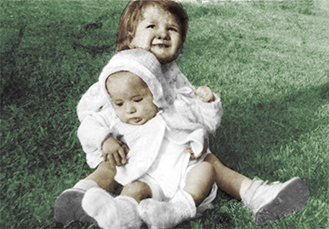Mom and brother color pic